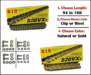 D.I.D DID 520 VX3 Xring Motorcycle Drive Chain Gold or Natural with Master Link