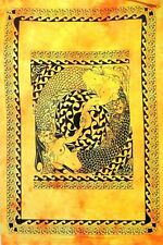 Mermaid Cotton Handmade Yellow Color Tapestry Poster Indian Throw Textile Hippie