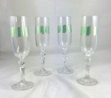 Vintage Art Glass Elegant Carved Stem Champagne Flutes Set 0f 4