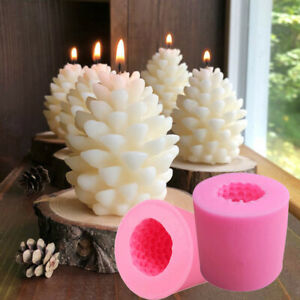 3D Christmas Pine Cone Silicone Candle Molds Beeswax  Candles Making Mould DIY