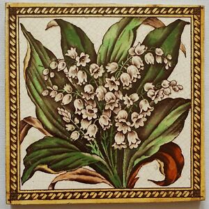 Antique Victorian Floral Tile.(Lily of the Valley)