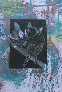 "LYNN KEATING AUSTRALIAN BLACK INK LINOCUT HAND COLOUR ""FINCH BIRD"" 2015 A"