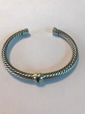 David Yurman Silver 14K Gold Cable Sapphire 5mm Cuff Bracelet