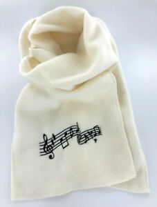 """Cream / Ivory Fleece Music Notes Winter Scarf, Embroidered, Men's or Women's 60"""""""