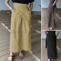 Womens Pleated A Line Swing Maxi Skirt Dress Loose Baggy Party Cocktail Skirts