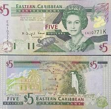 East Caribbean Banknotes Paper Money Collect 5 Dollars Real Currency UNC 2008
