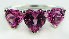 GENUINE 2.86 Carats PINK SAPPHIRE DIAMONDS RING .925 Sterling Silver * NWT