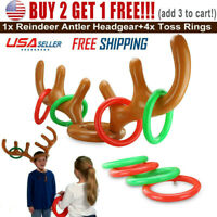 Adults Inflatable Reindeer Hat Antler Ring Toss Holiday Birthday Party Fun Game