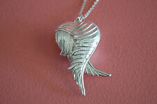 925 Sterling Silver Love Heart 3D Locket Angel Wings Pendant Necklace