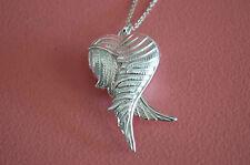 925 Sterling Silver Love Heart 3D Locket Angel Wings Pendant Necklace