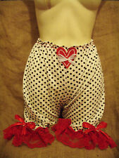 White,black polka dot bloomers with red lace! Pin-up,vintage,rockabilly,1950's!