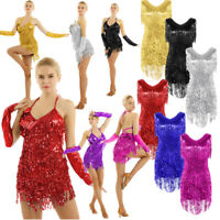 Women Latin Dance Costume Sequined Tassel Ballroom Samba Tango Competition Dress