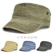 VOBOOM Mens Army Cap Trucker Baseball Cap Retro Solid Cotton Distressed Snapback