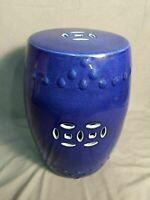 Asian Garden Stool Chinese Glazed Ceramic Cobalt Blue Indoor Outdoor