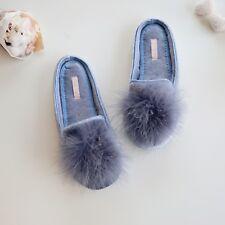 Women's Feather Puff Velvet Loafer Slippers