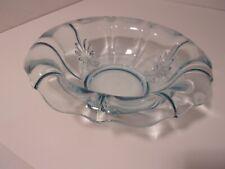 """Large Ice Blue Centerpiece Fruit Bowl Fleur De Lis Design Very Pretty 11"""""""