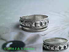 Antique Vintage Sterling Silver 925 Ornate Roped Tribal Band / Ring Size 7 3/4