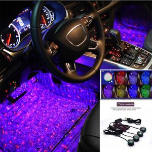 4in1 Voice Control Car Decorative Ambient LED Lamp Interior Floor Foot Light USB