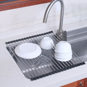 Foldable Kitchen Dish Drainer Roll-Up Over Sink Dish Drying Rack Stainless Steel
