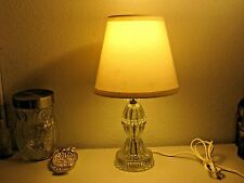 "Vintage Crystal Glass Cut Small Table Lamp 40's Beige Lamp Shade 15""   Way Nice"