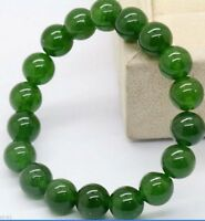 "Natural 10mm Dark Green Jade Round Gems Beads Stretchy Bangle Bracelet 7.5"" J28"