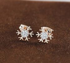 18K Rose GOLD GF Cute Snow Snowflake Swarovski Crystal Stud Earrings Gift