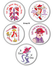 """200 3"""" BUTTON & MAGNETS FAVORS GIFTS FOR RED HAT LADIES OF SOCIETY"""