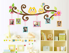 Large Owl Tree Branch Photo Frames Wall Decal Removable Wall Stickers Kids Decor