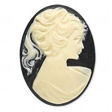 2984CB Cab Cabochon Cameo Acrylic White on Black Woman 25x18mm Oval, 12 Qty