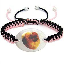 Pomeranian Pom Dog Mother Of Pearl Natural Shell Adjustable Knot Bracelet Bs256