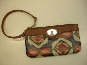 FOSSIL Key-Per Flowers Floral Coated Canvas Brown Leather Wristlet Wallet Clutch