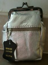 Eclipse Silver Eclipse Leather Cigarette 2 Zippers/Coin Purse Up To 100's