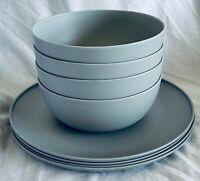 Mainstays Indoor / Outdoor 8-Piece Dinnerware Set GRAY (New)