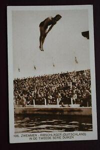 Original Olympic Games 1928 Amsterdam Diving postcard card Swimming Sport IOC