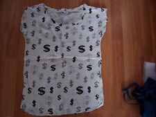 Cream with dollar pattern sleeveless top from New Look, Size 8