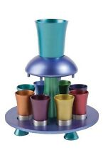 Yair Emanuel Anodized Multi color Kiddush Fountain Nine Cup Cups From Israel
