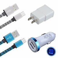 Car Charger + Wall Adapter + 2x Type C Data Cable for LG G6 G5 Google Pixel 2 XL
