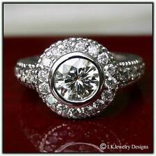 Ghi Bezel & Milgrane Engagement Ring 1.90 Ct Moissanite Round Forever One
