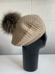 William Sharp 100% cashmere beret with fur pom pom. Mid brown. New with tags