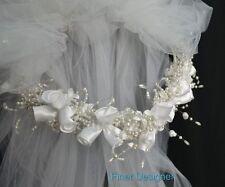 VTG 80 Bridal veil rose headband Pearls Wedding White tulle netting crown veil