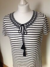 FATFACE Ladies Blue Striped Linen Knit Tunic Top Size 10 Holiday/Beach
