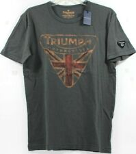 Lucky Brand Triumph Motorcycle UK Flag Badge Faded Logo Gray T-Shirt Tee