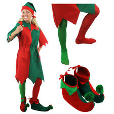 LADIES ELF COSTUME SANTAS LITTLE HELPER ADULT XMAS CHRISTMAS FANCY DRESS XS-4XL
