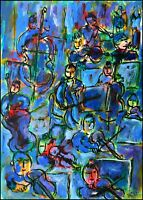 Rhapsody in blue modern art oil painting Jean Mirre coté ARTPRICE AKOUN