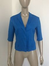 Jil Sander Electric Blue Size 38 Half Sleeve Cotton Blouse Hidden Buttons As Is