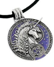 Courtney Davis Sterling Silver Purple Celtic Unicorn Medallion Pendant Necklace