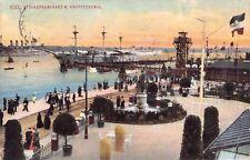SELTEN color. Foto AK 1911@KIEL Strandpromenade mit Krupp-Denkmal@Schiff Dampfer