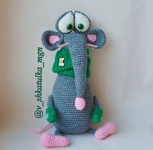 Crochet rat Stuffed New Years Knitted toy Amigurumi plush 2020