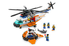 LEGO COAST GUARD HELICOPTER & LIFE RAFT 7738 Set City Rescue shark no stickers