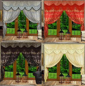 Novelty Grey/Brown/Red/Yellow Curtain Swags & Tails Gold Design with Tie-Backs